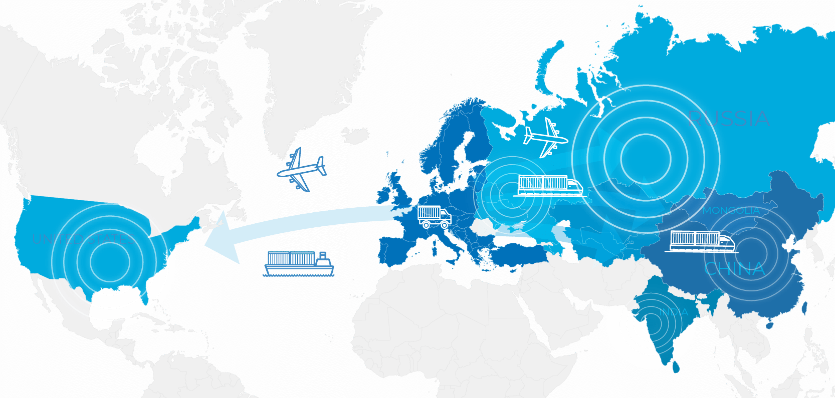Map of the world displaying RTSB geographical business scopes