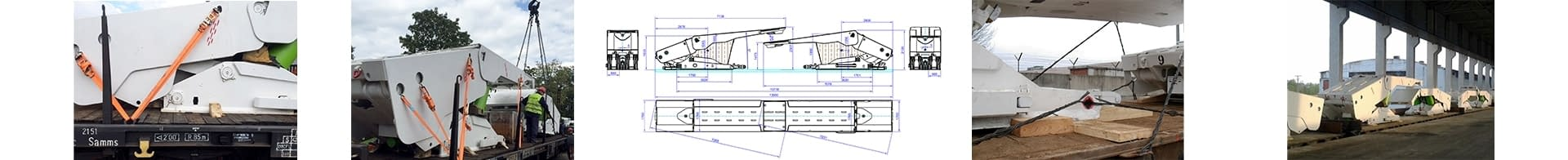 Collage of the loading process mining machinery including technical drawing