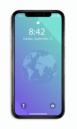 Iphone home screen with globe as background image