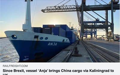 Since Brexit, vessel 'Anja' brings China cargo via Kaliningrad to UK