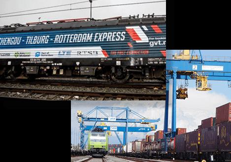 Inaugural train Rotterdam express Tilburg, Container train in duisburg terminal