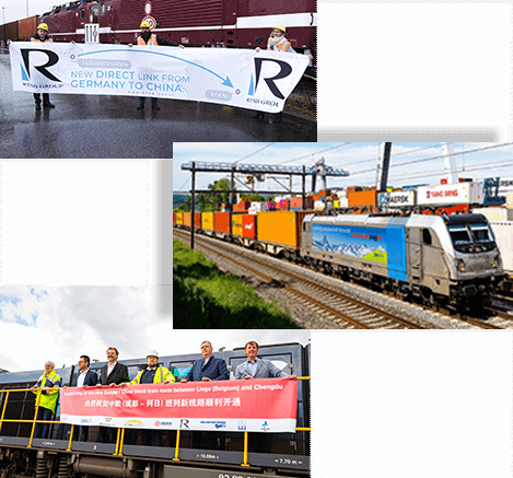 RTSB employees holding banner standing in front of freight train in Ludwigshafen