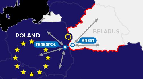 Map of border processes in Brest Terespol entering the EU
