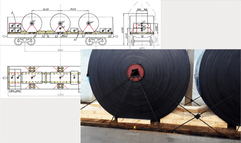 Technical drawing of transport and actual picture of loaded tubes on open platform