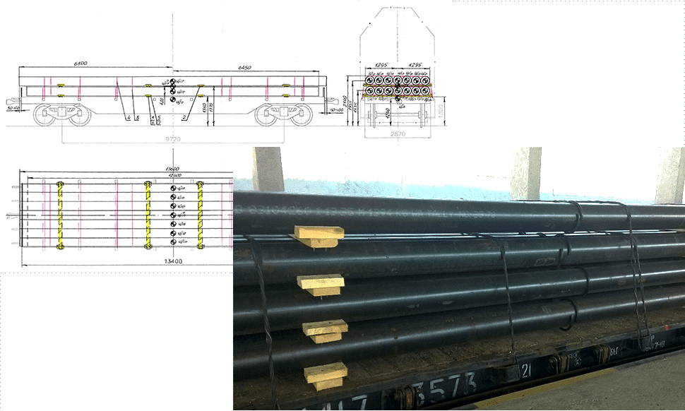 Technical drawing of transport and actual picture of loaded pipes on open platform