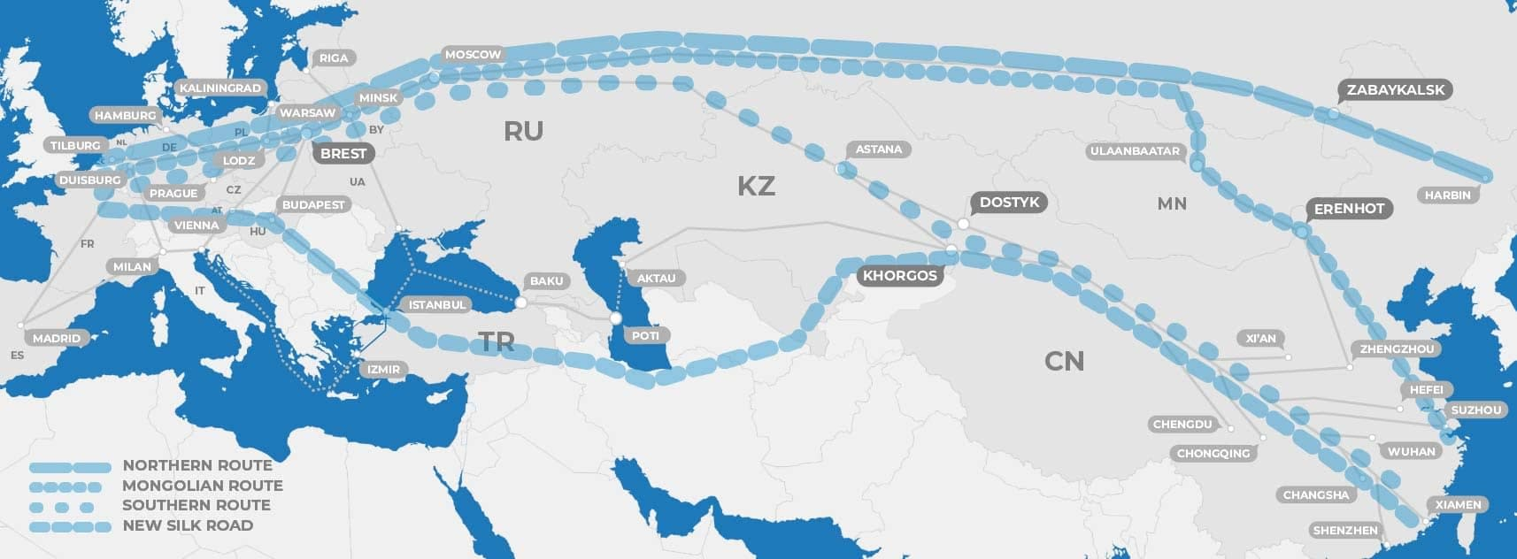Map displaying four trans eurasian railway routes between China and Europe