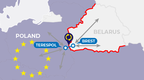 Map of border processes in Brest Terespol entering the EU