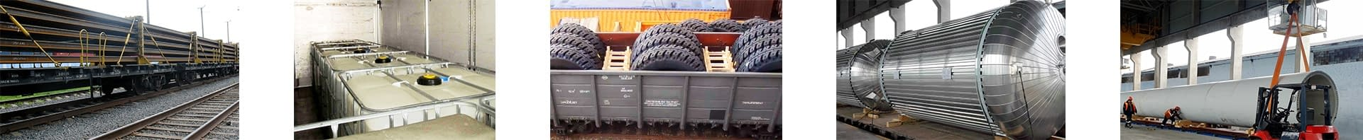 steel beams kegs tyres and windmill parts loaded on open platform wagons