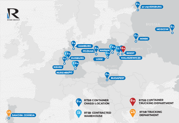 Map of RTSB Trucking departments in Europe and Russia