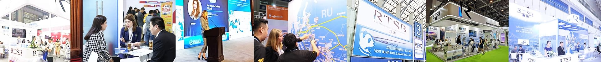 Pictures of RTSBs presence at exhibitions and congresses with employees speaking to customers and giving speeches