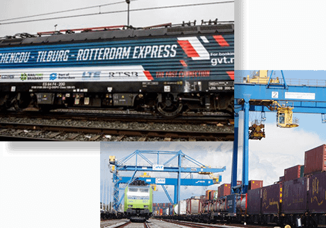 Inaugural train Rotterdam express Tilburg, Container train in duisburg terminal