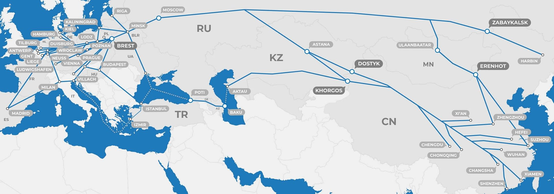 Map of Eurasia showing train routes between Europe and China